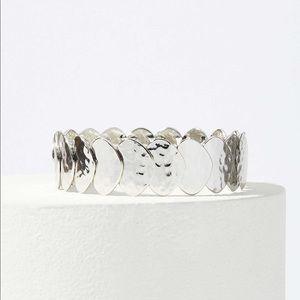 NWT LOFT Silver Disc Stretch Bracelet